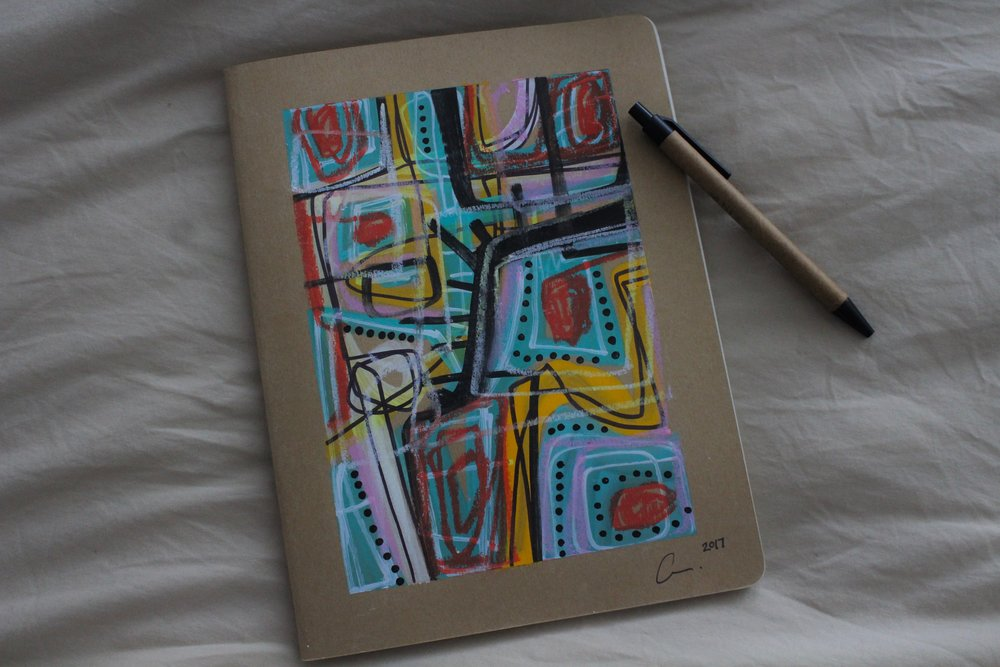 in love with my new journal from artist Cristina Martinez (@sewtrill). You can purchase her art & one of these beautiful one-of-a-kind journals from her website, www.juneandmars.com.