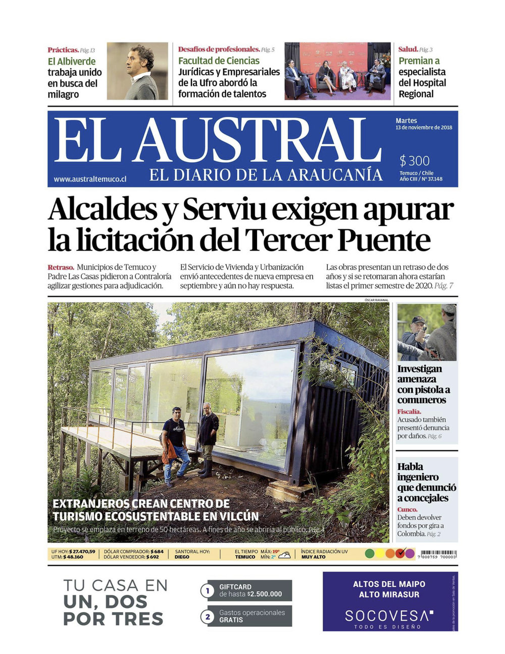 SAMADHI ECO RESORT EL AUSTRAL NEWSPAPER 2018
