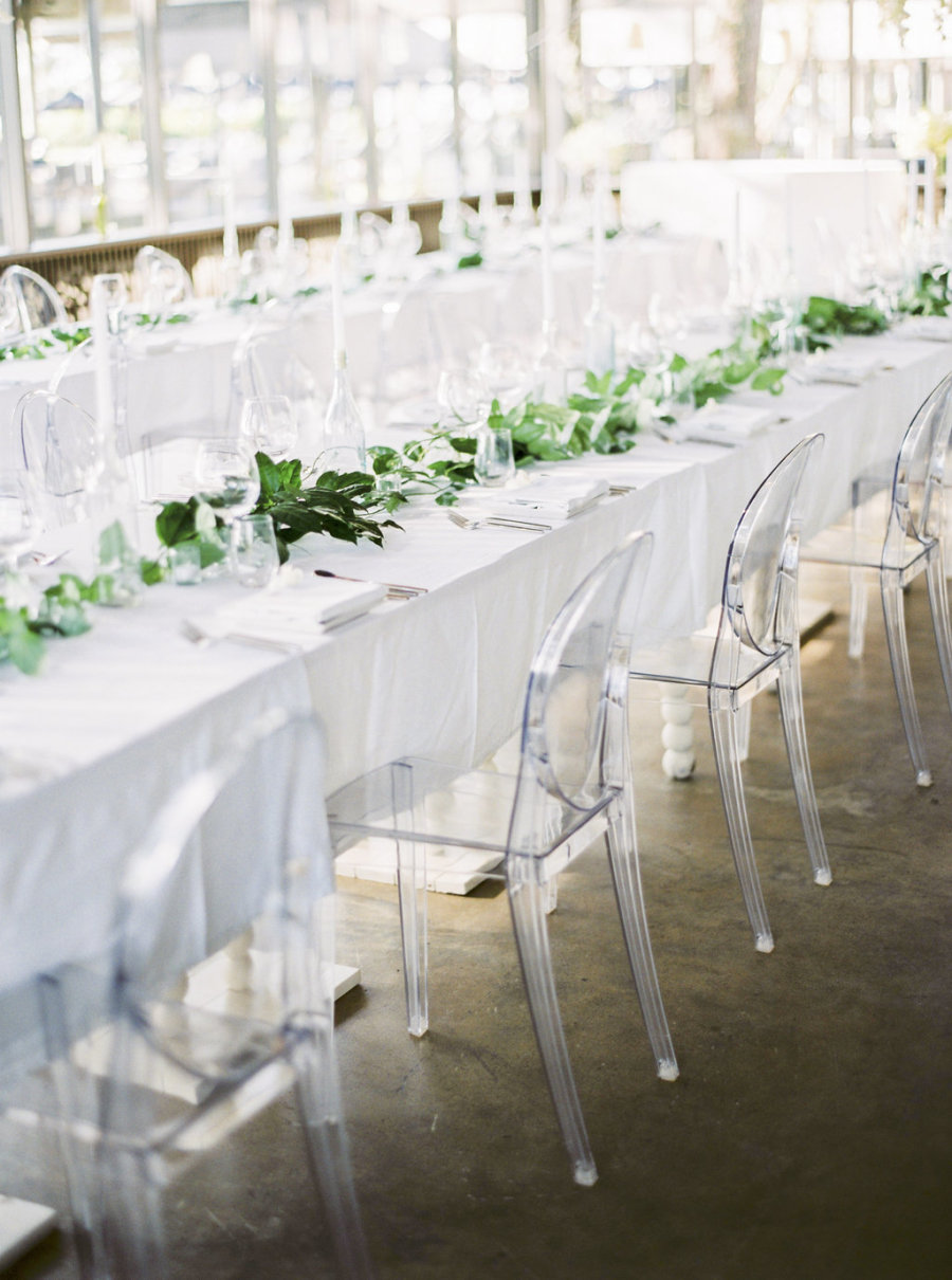 Ghost chairs are a cool and modern alternative to wedding seating.