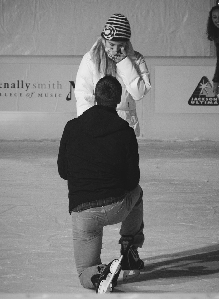 Adam popping the question at our favorite skating spot, Rice Park