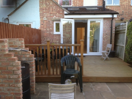- DeckingA variation on flooring, usually constructed out of doors in the back garden. SFB can carry out the entire job from start to finish: laying the joists, concreting posts, levelling the structure out and compacting the underlying ground to ensure there is no bounce. As a smart finishing touch, lights can be incorporated into the surface for turning on after dark.