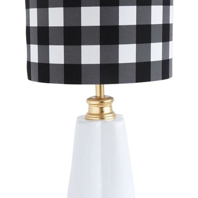 Cool modern cottage vibe lamp! #check #lamp #lighting #cottagevibes #cottagestyle #cottagedecor #blackandwhitechecks #interiors #revibedesigns available at revibedesigns.com #bethev #behindthevibes behindthevibe.com