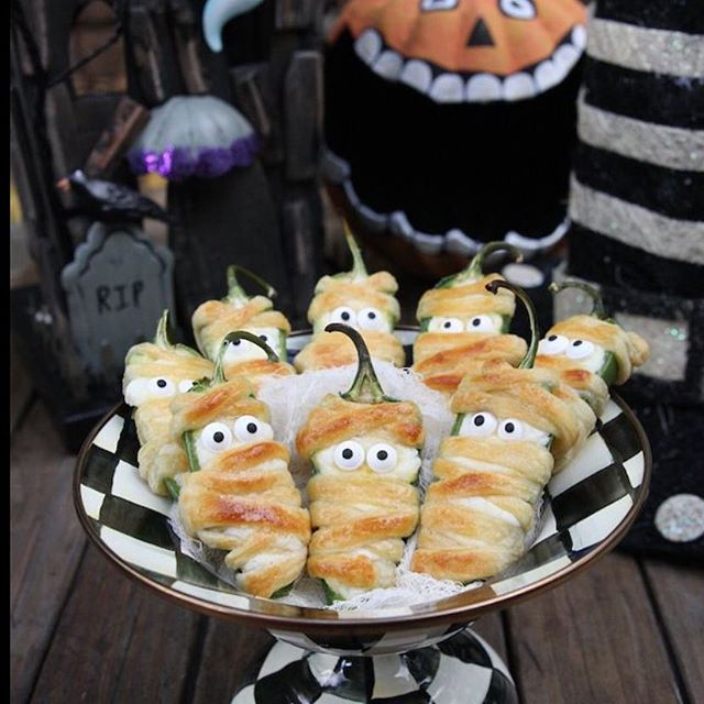 Cool jalepeno poppers for your Halloween Bash!!! Get the recipe on our blog. Behindthevibe.com #halloween #halloweenappetizers #recipes #halloweenrecipes #fun #partyideas
