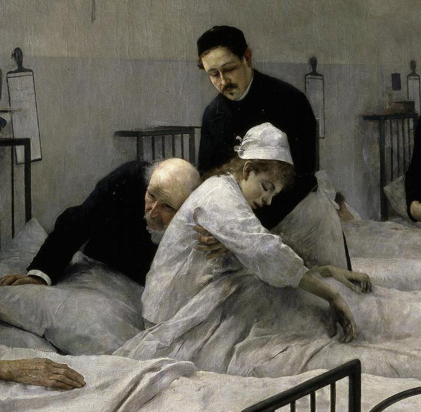 Luis Jiménez Aranda, La sala del hospital en la visita del médico en jefe,  1889