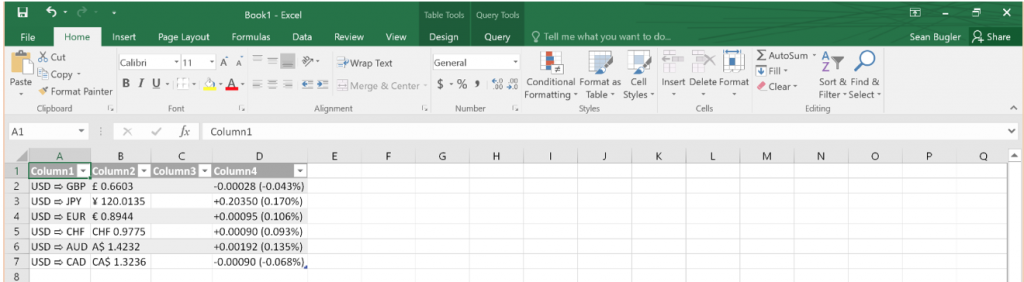 importing data excel