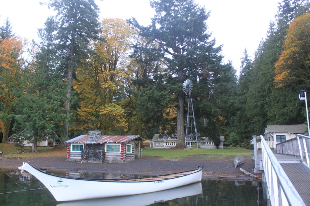 canoes and cabins along lake crescent at naturebridge campus in olympic national park in Washington state