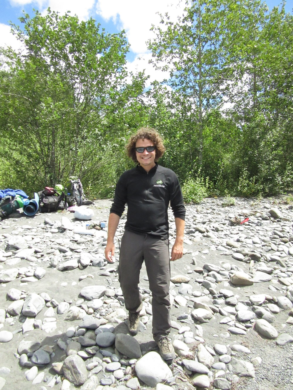 Environmental Educator on the river banks in Olympic National Park, WA