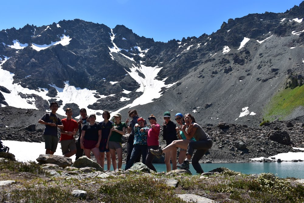 high school students hike through olympic national park, WA in july