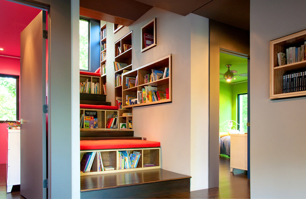 For the Schoenberg Home we created this climbing library that culminated into a tree house type spot sticking out from the building into the tree tops.