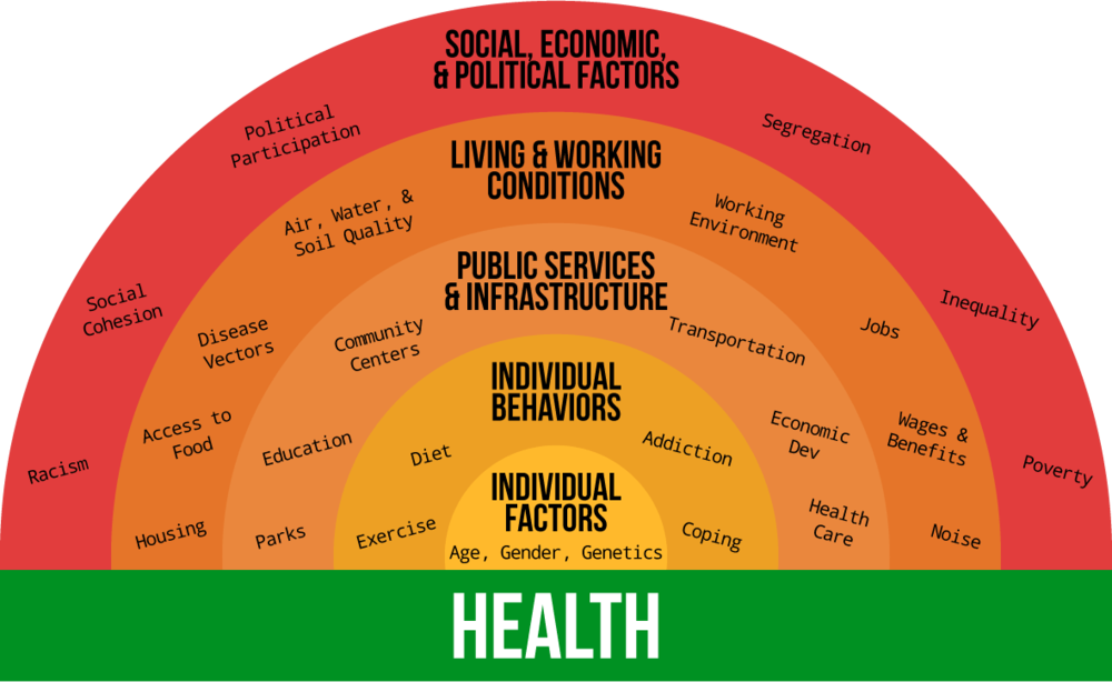 (Click to enlarge) Image description: Five concentric semi-circles show social determinants of health. The outermost semi-circle lists social, economic, & political factors: racism; social cohesion; political participation; segregation; inequality; and poverty. Moving inwards, the second semi-circle lists living & working conditions: housing; access to food; disease vectors; air, water,& soil quality; working environment; jobs; wages & benefits; and noise. The third semi-circle lists public services & infrastructure: parks; education; community centers; transportation; economic dev; and health care. The fourth semi-circle lists individual behaviors: exercise; diet; addiction; and coping. The fifth and innermost semi-circle lists individual factors: age; gender; and genetics.
