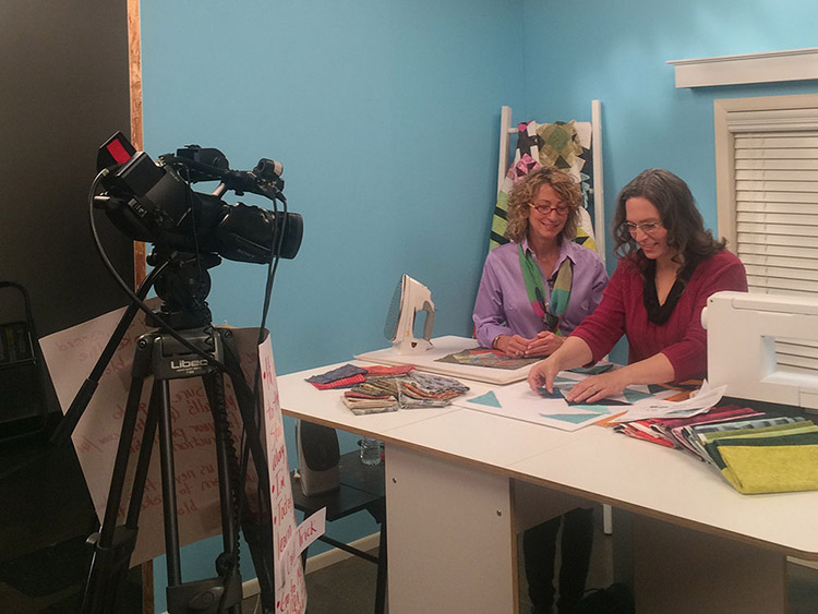 Ashley during filming of an instructional  McCall's Quilting  video.