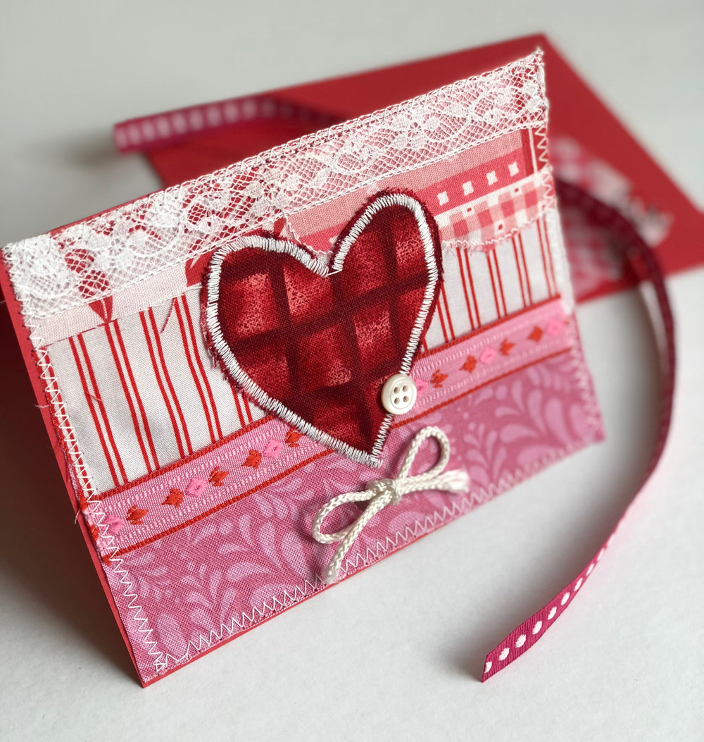 handmade embellished Valentine's Day card