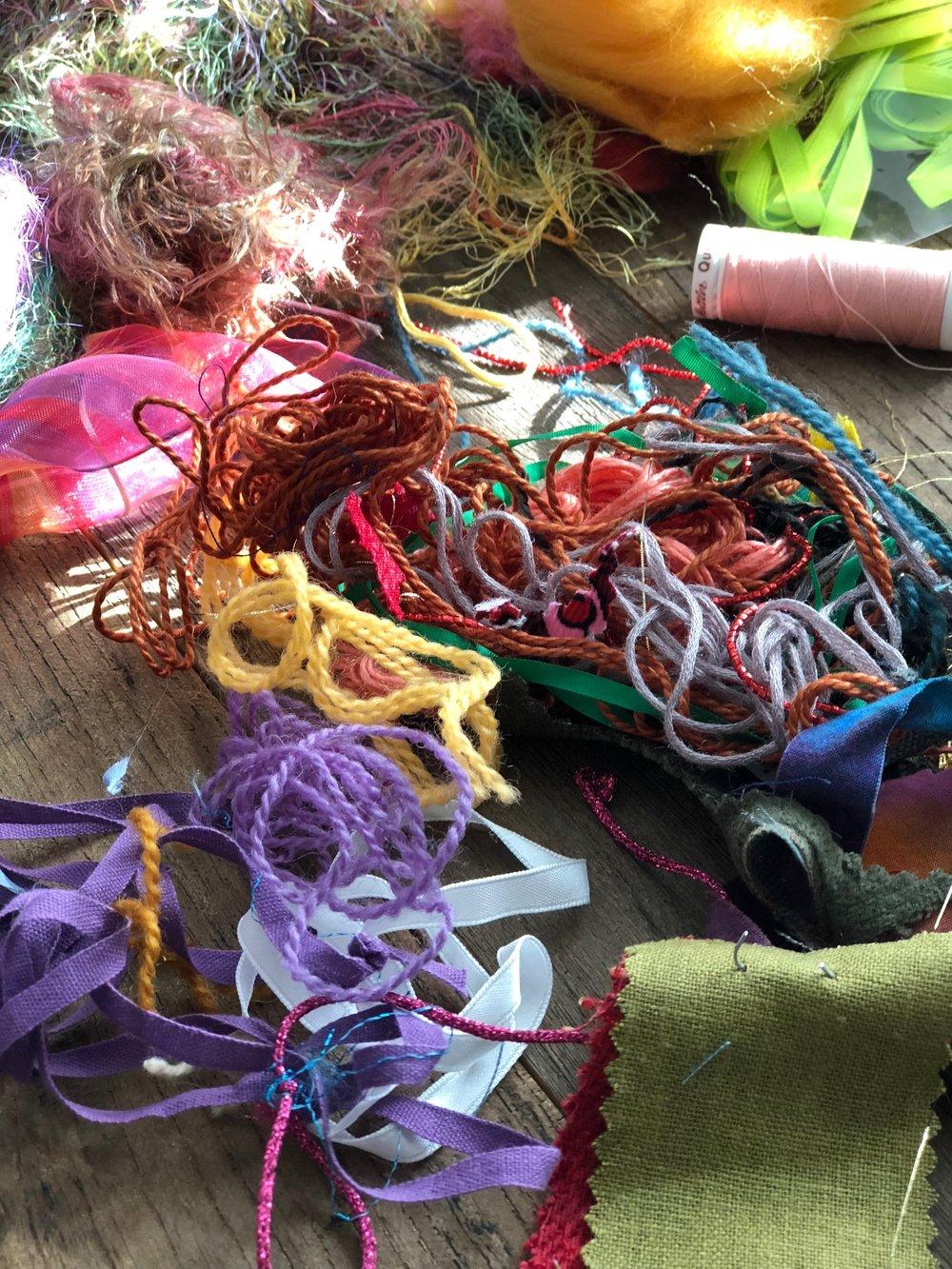 Assorted embellishment yarns and fibers