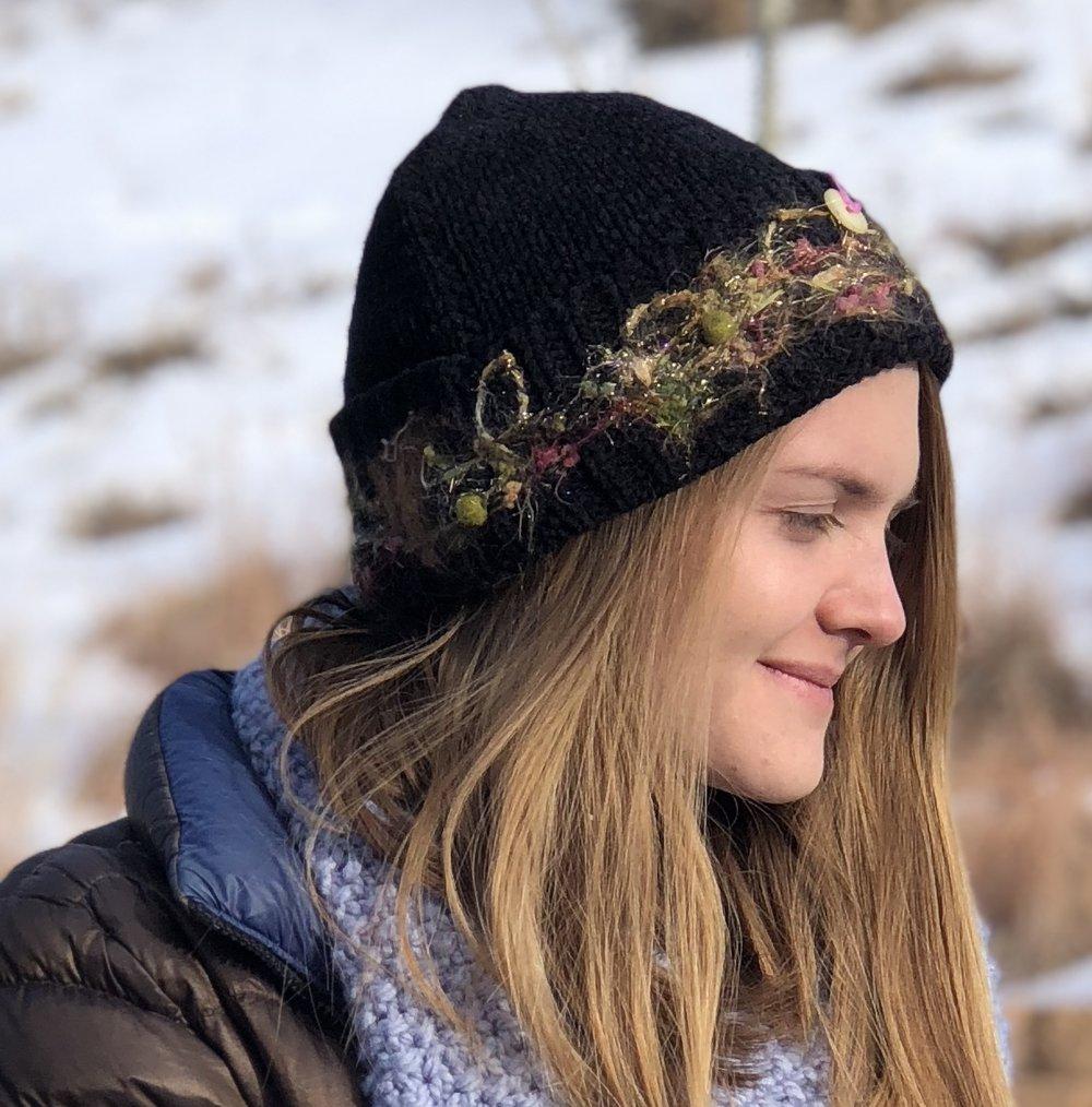 Needle felted embellished knit hat