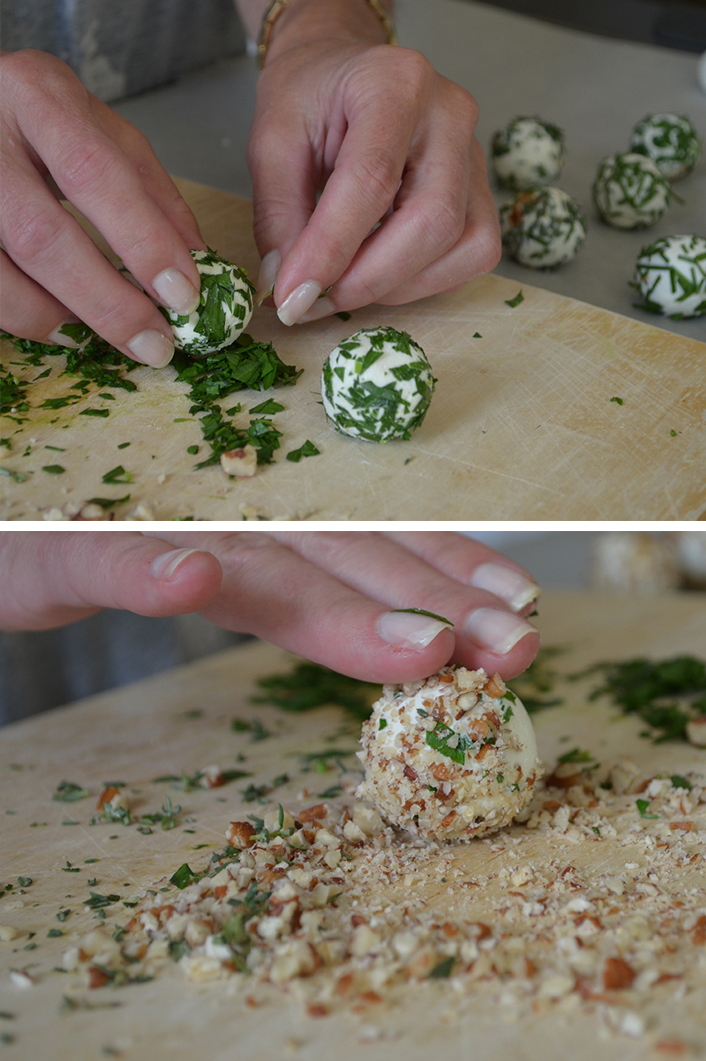 2 - Roll some of the balls in herbs or pecans.