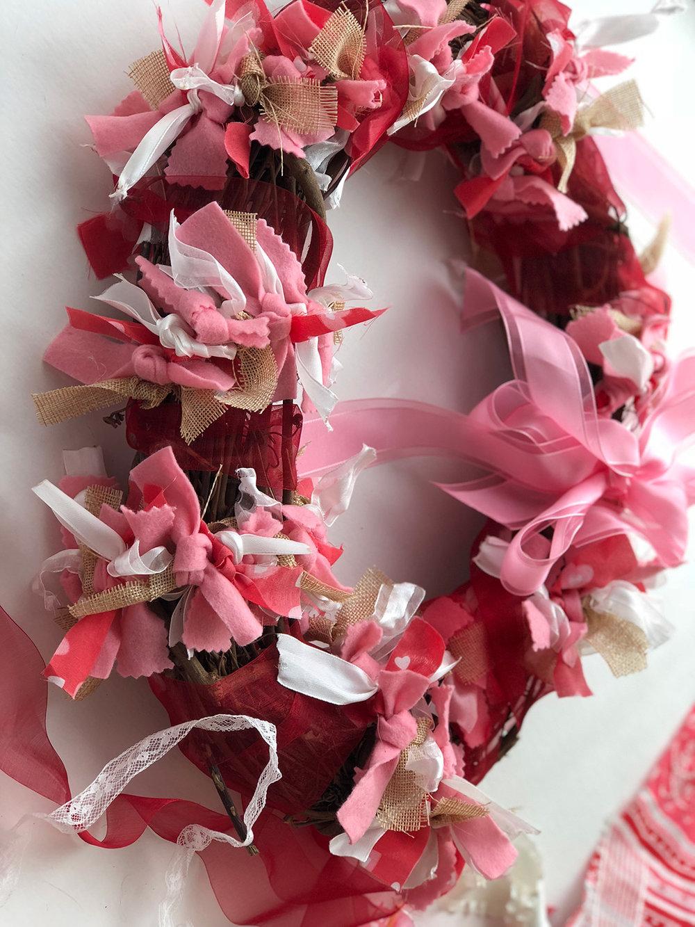 Finished DIY Valentine Ribbon Wreath