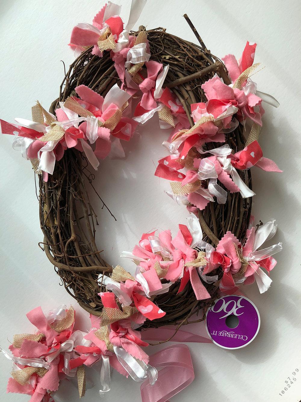 DIY grapevine ribbon wreath in progress