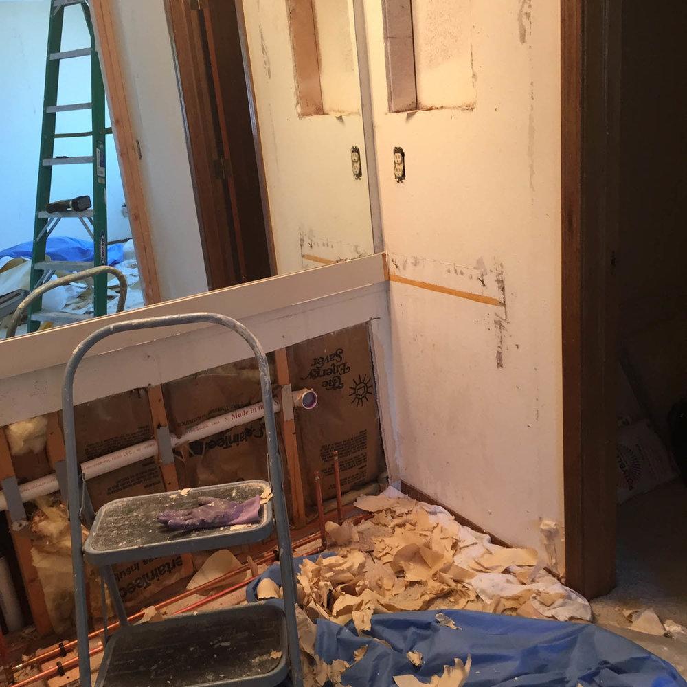 Master bathroom vanity torn out