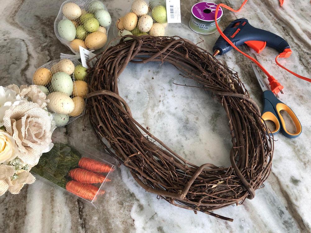 Easter egg wreath supplies