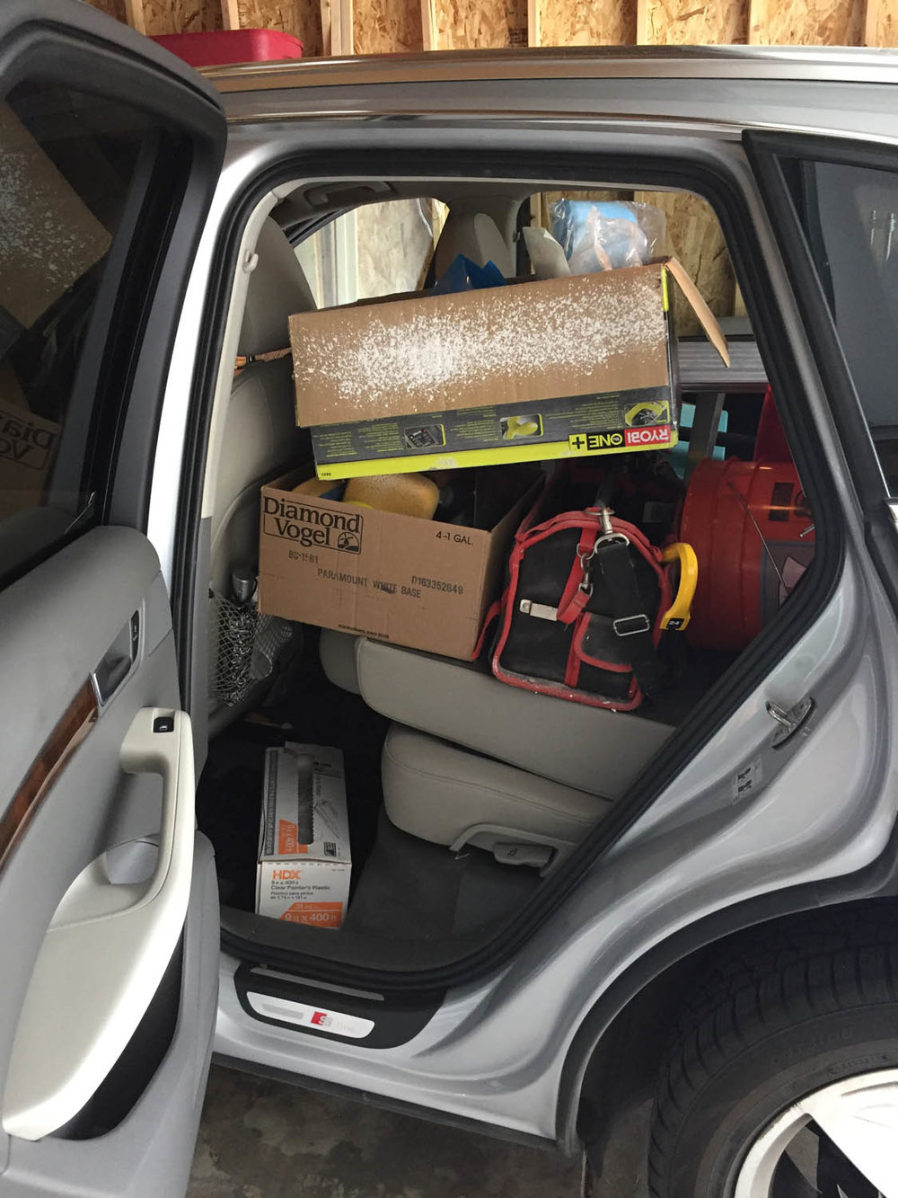 car loaded with remodeling supplies