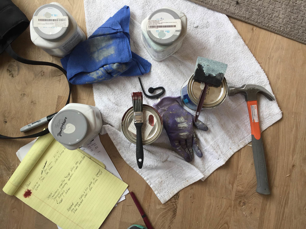 paint samples and supplies for home remodeling