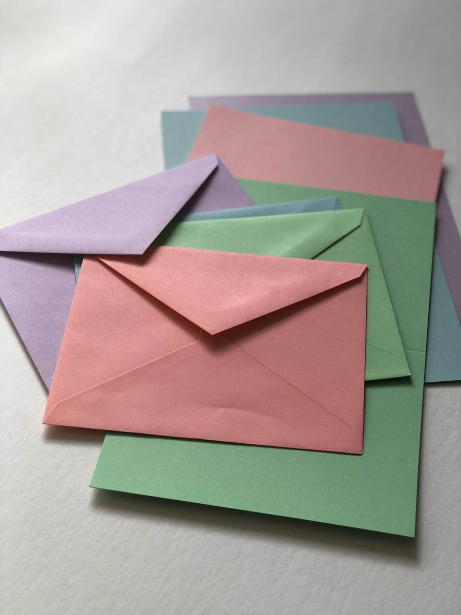 purchased cards and envelopes in pastel tones for embellishing