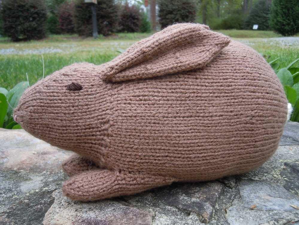 Hand-knit bunny rabbit in white yarn