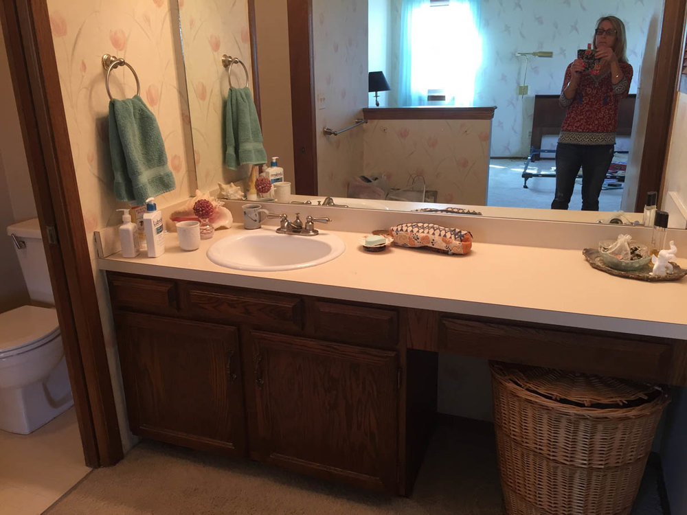 master bathroom twin sinks before remodel