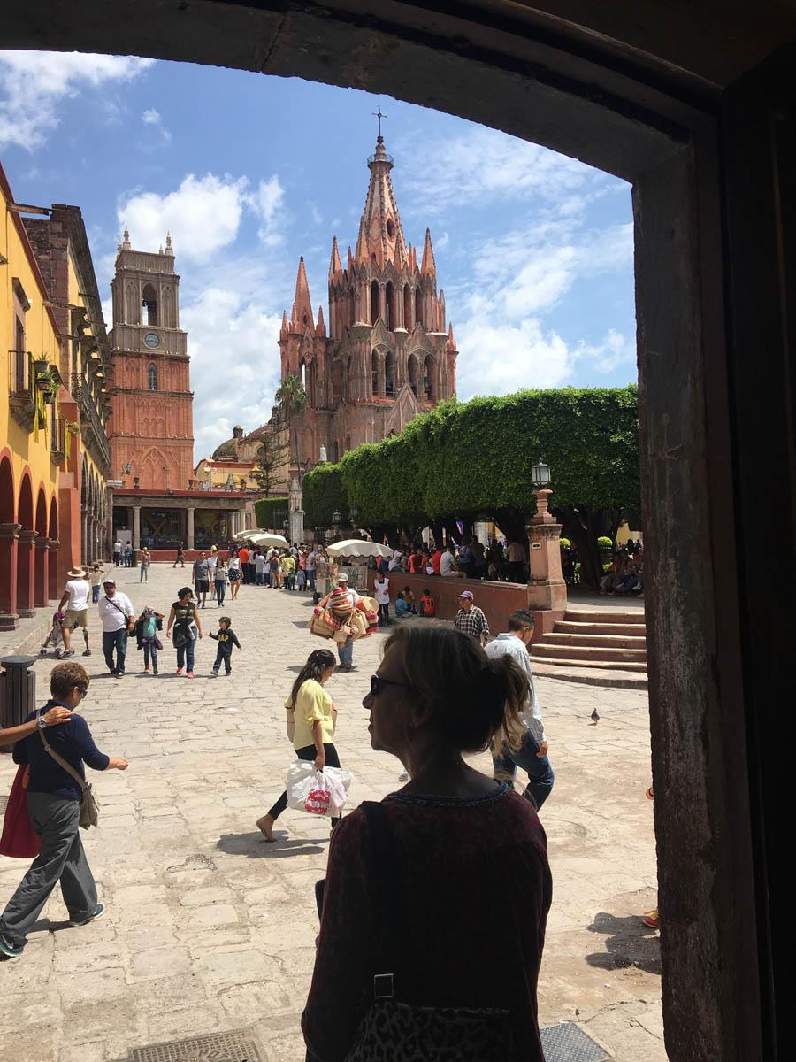 Historic city center main plaza el jardin in San Miguel de Allende