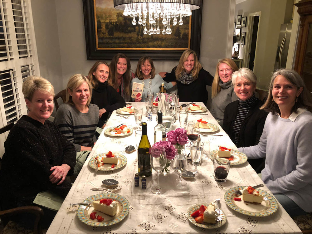 book club girls at dinner