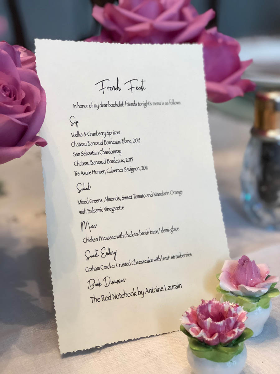 menu for french feast at the book club