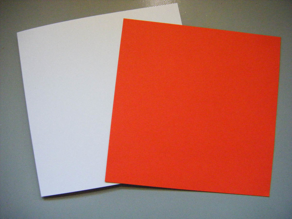 6-inch square blank card bases in red and white