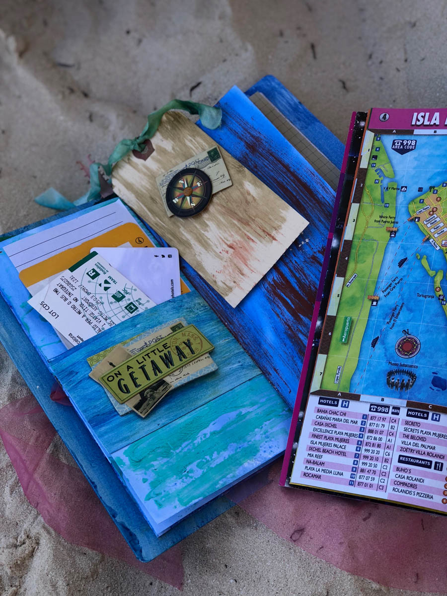 Inside view of mixed-media travel journal