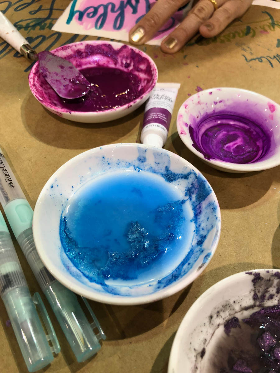 Faber-Castell watercolor paints in porcelain bowls