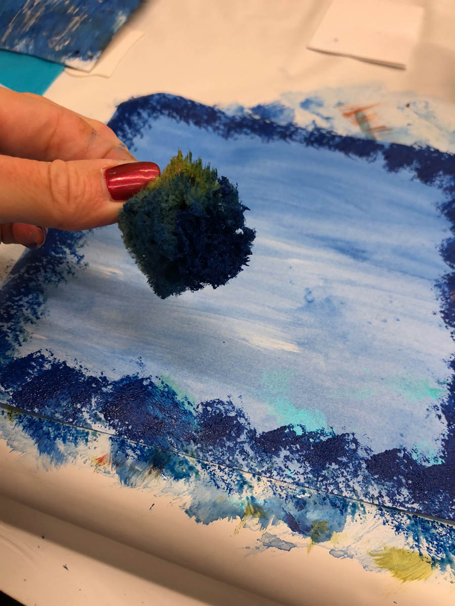 Painting with sponge on mixed-media notebook paper