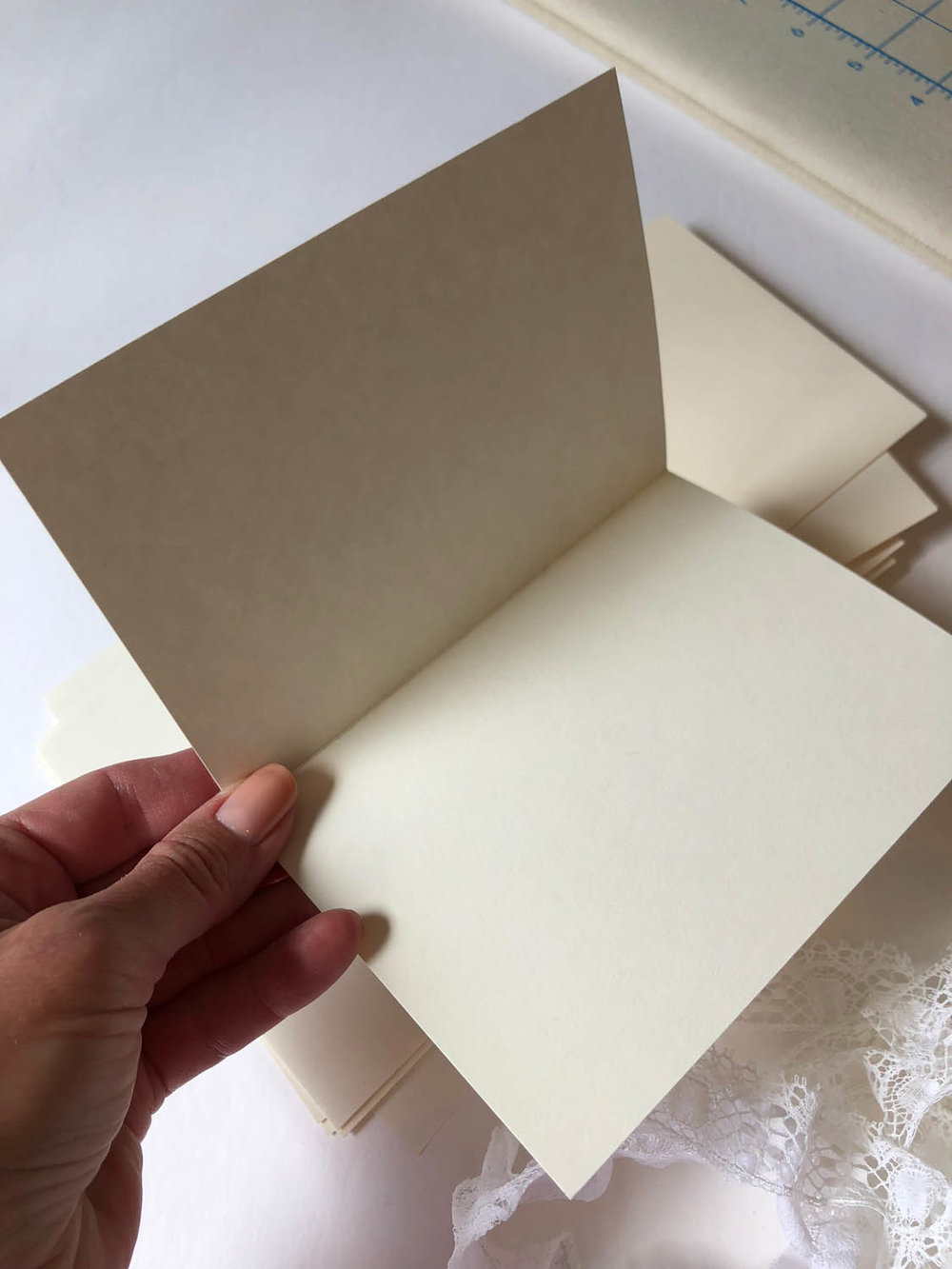 purchased blank card stock