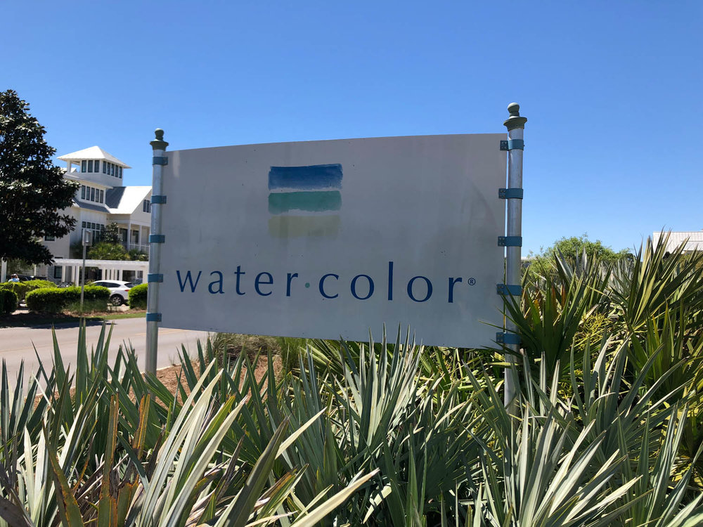 Watercolor, Florida city entrance sign