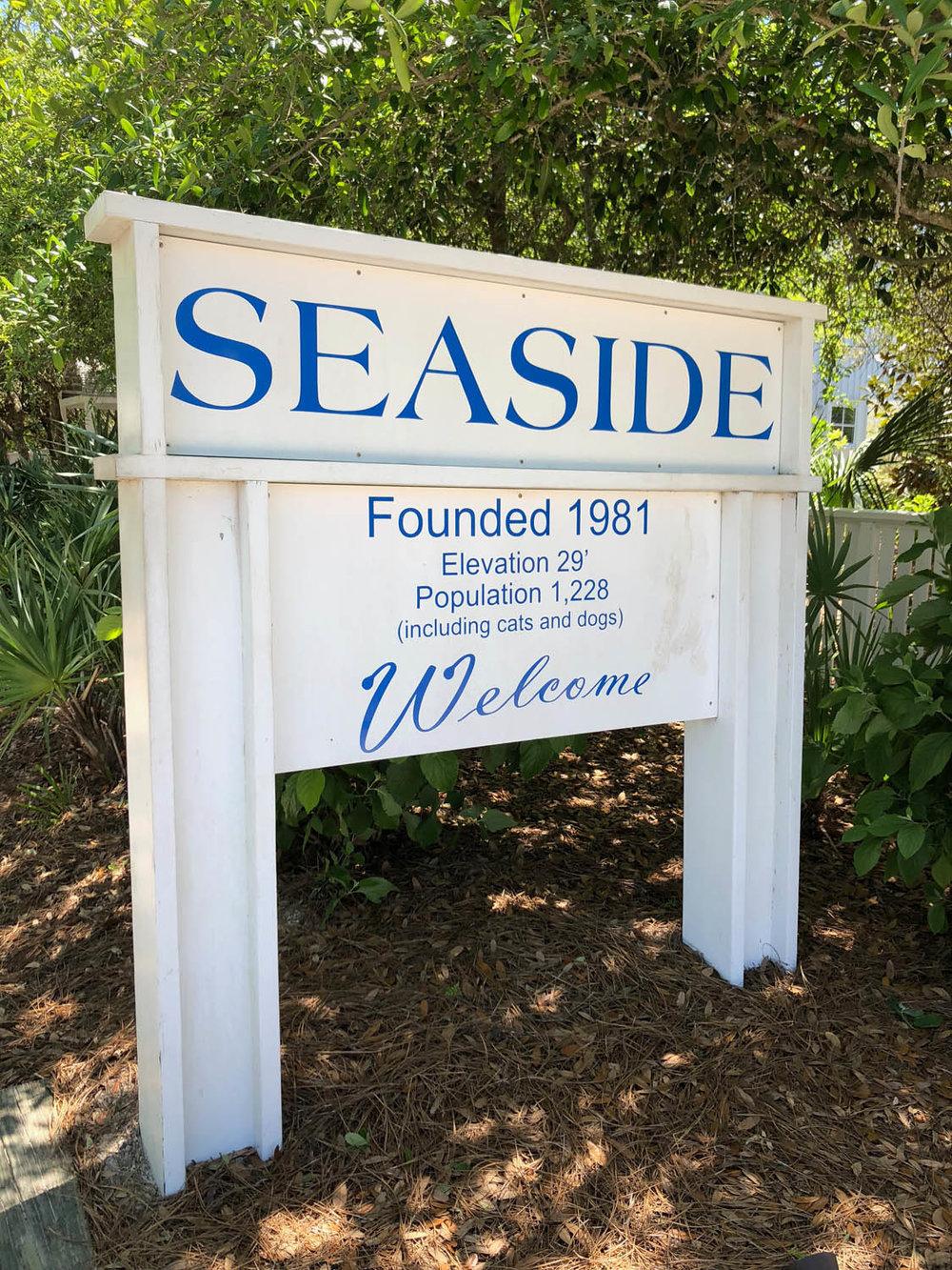 Seaside, Florida city entrance sign
