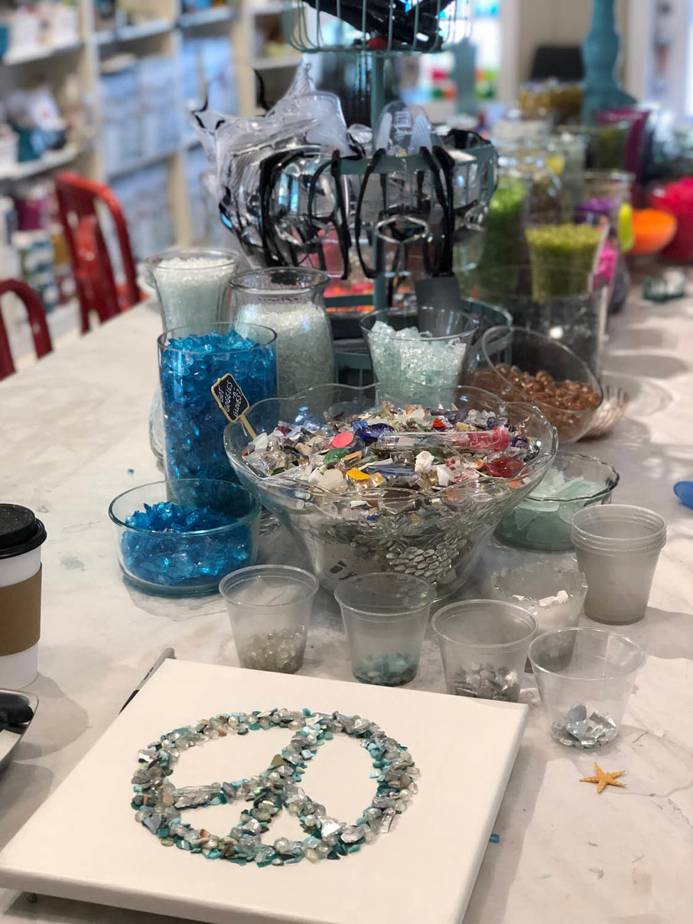 glass supplies and peace sign project at The Shard Shop