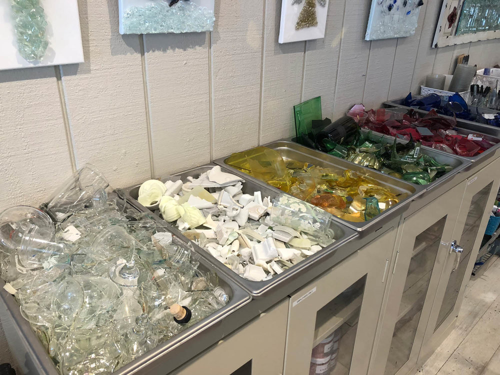 Glass shards at The Shard Shop studio in Grayton Beach, Florida
