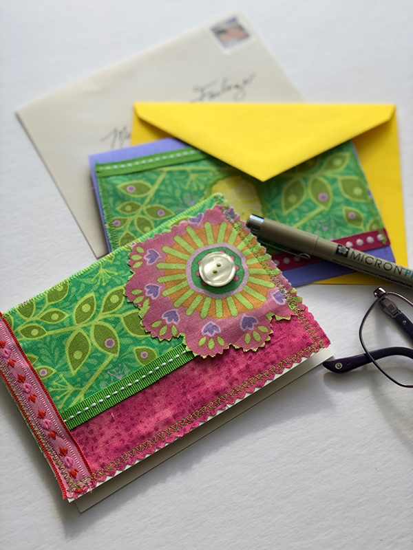 Embellished Cards - Learn several fun ideas for embellishing cards with sewn or glued fabrics and trims.