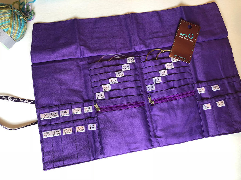 Della Q knitting needle organizer case interior size labels