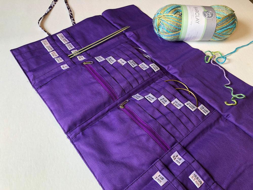 Interior side view of open Della Q knitting case