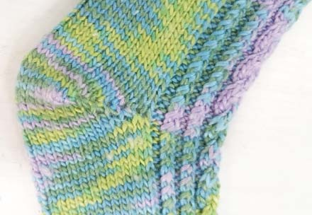 Cable Twist hand-knitted sock pattern heel shaping close up