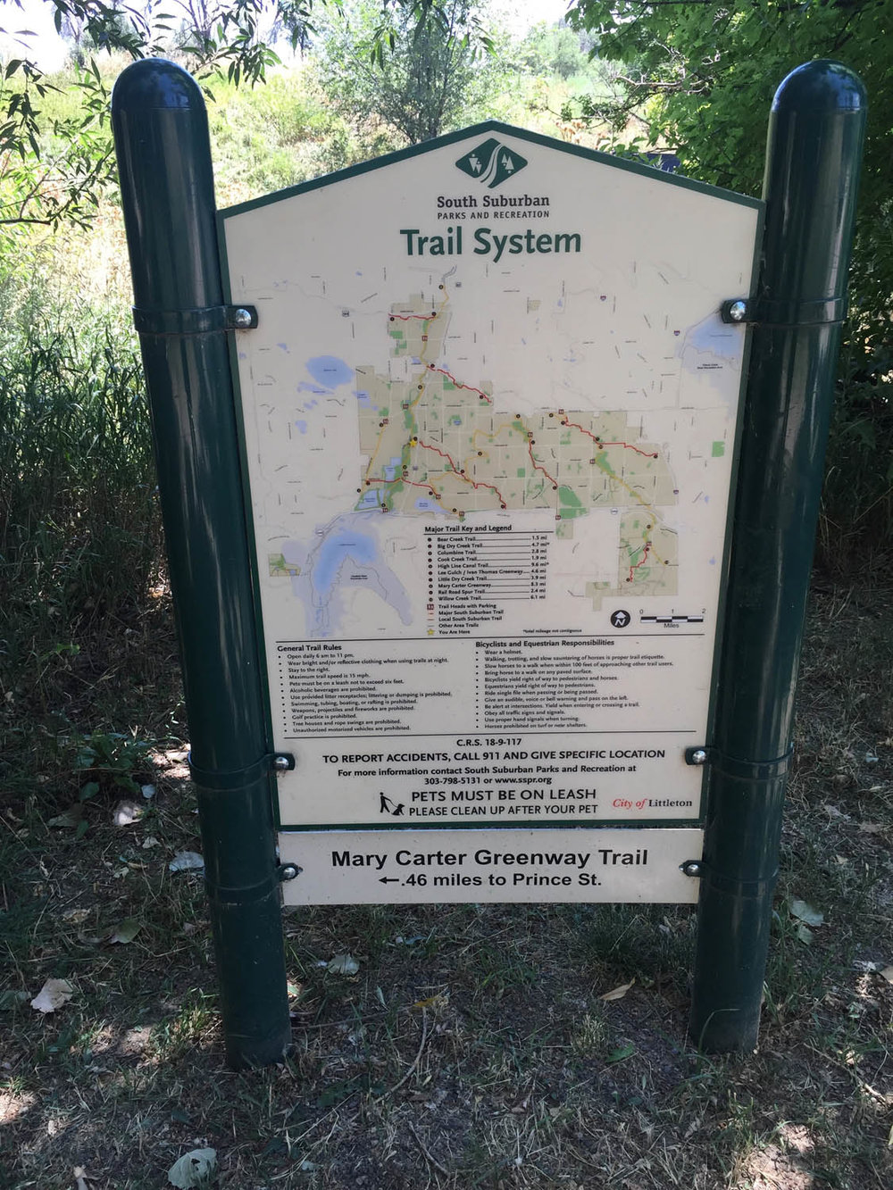 South suburban trail system along Platte River Trail in Littleton, CO