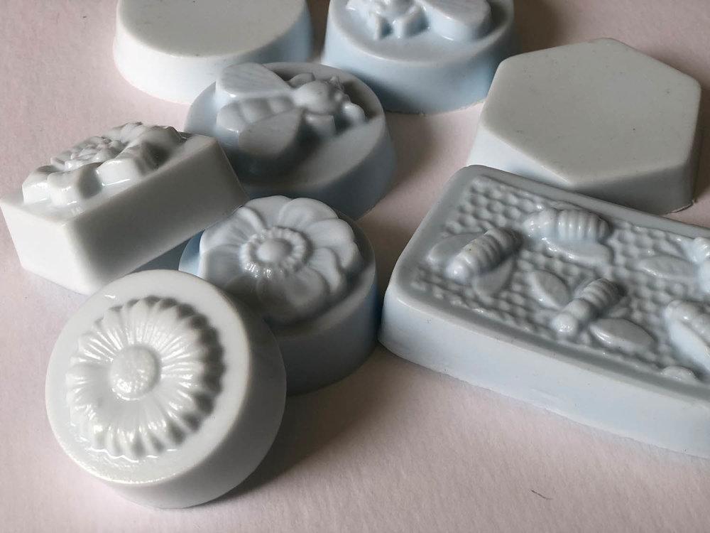 finished blue goat-milk soaps