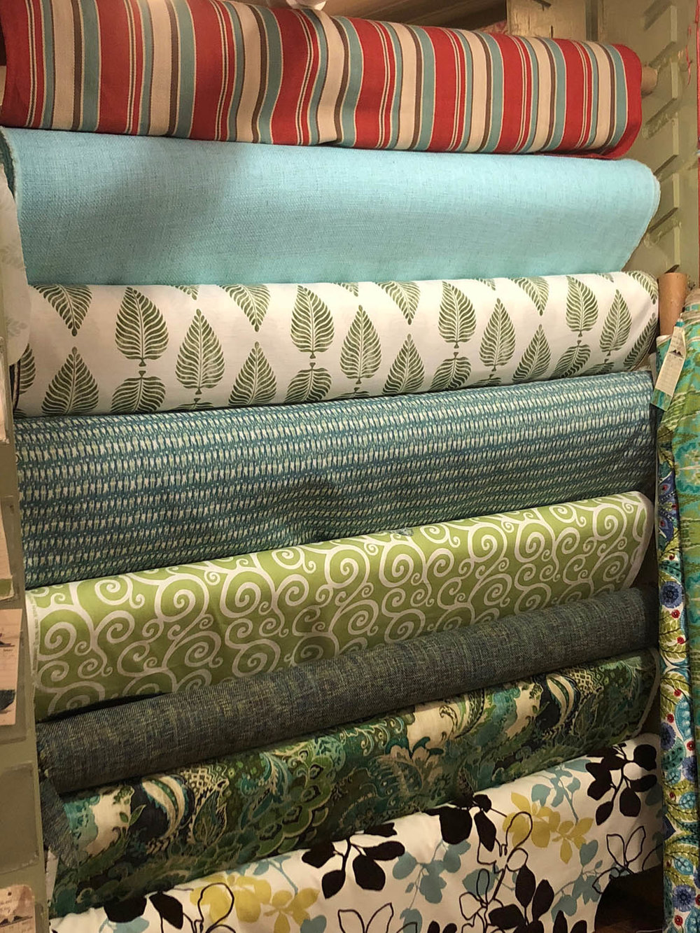 Fabric rolls at Trolly's Designer Fabrics LLC
