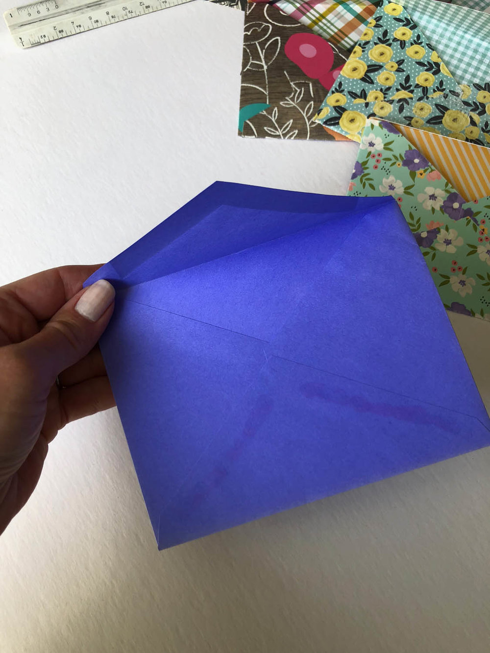 old envelope template for diy envelopes with scrapbook paper