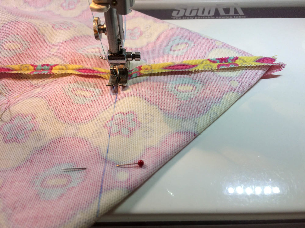sewing corners of tote bag