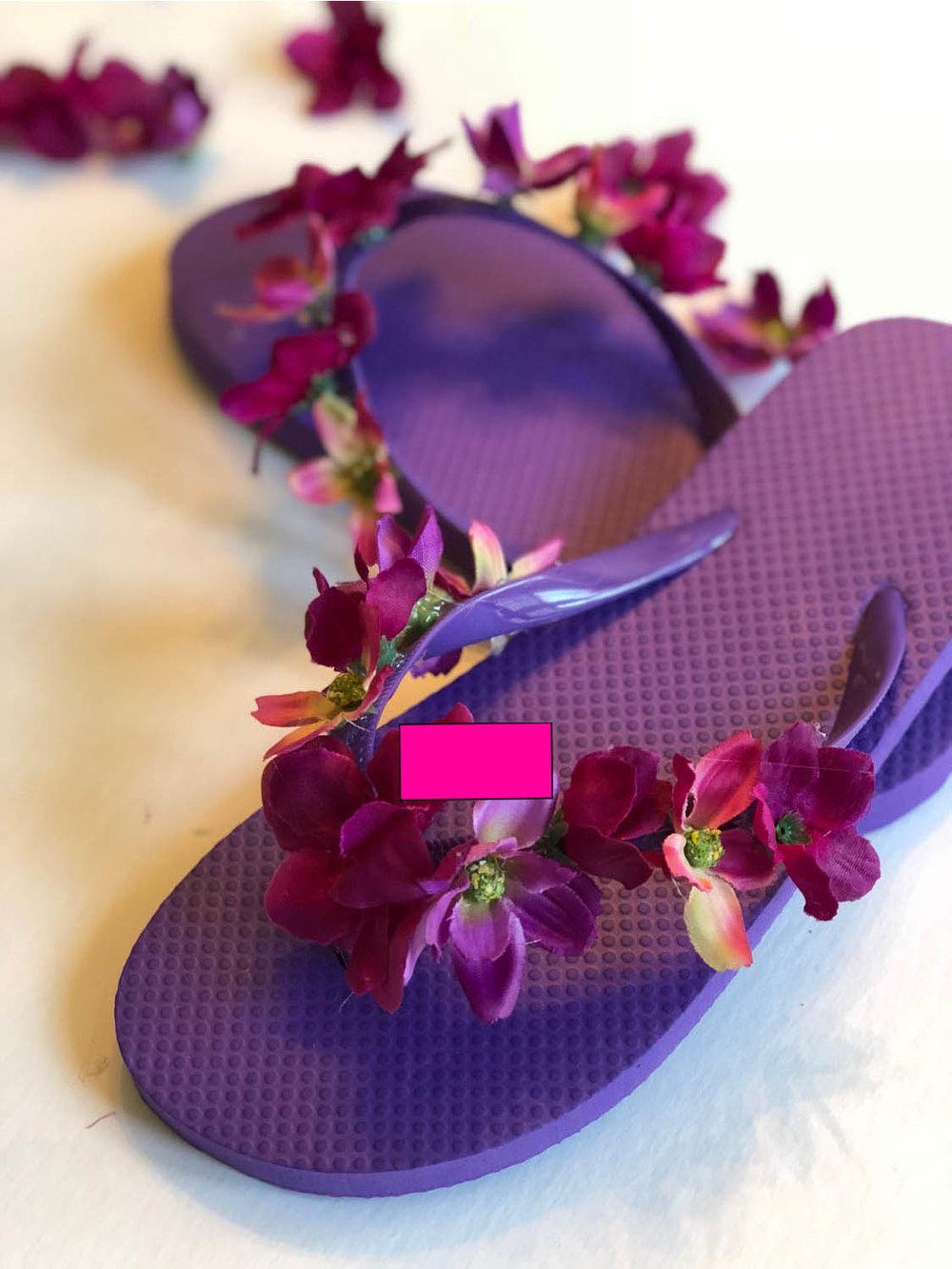 How To Embellish Flip Flops With Silk Flowers Yarn Scissors Silk
